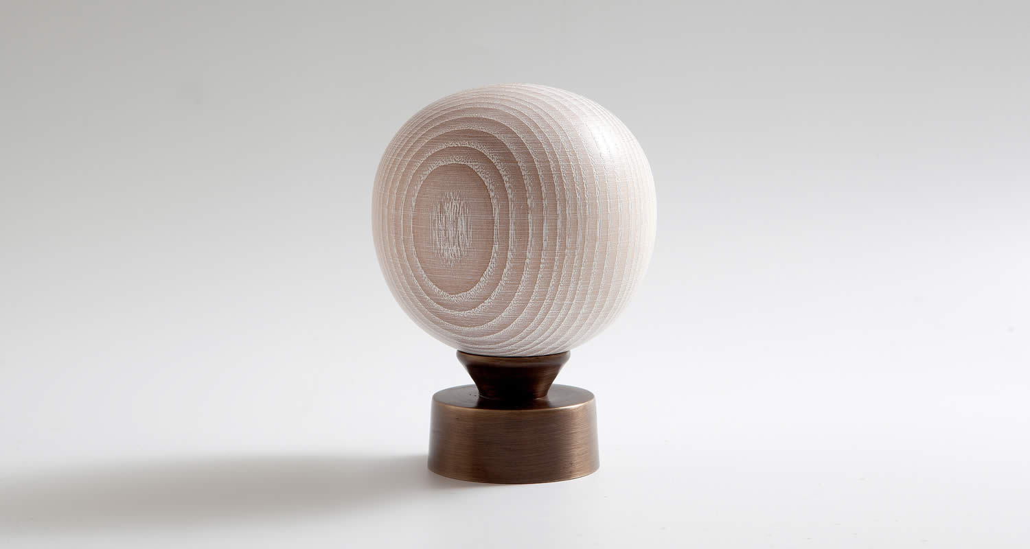 Limed Ash Turned Large Sphere Finial