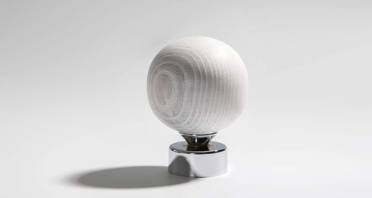 Limed White Ash Turned Large Sphere Finial