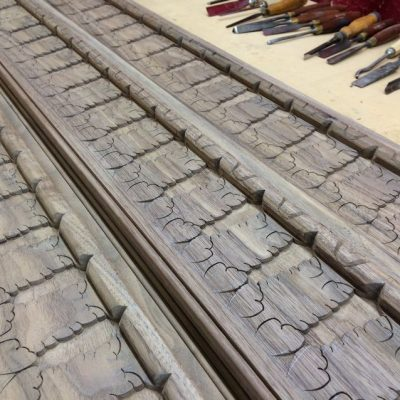 Work in progress: setting out the carved acanthus leaf frieze