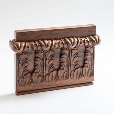 Finished sample: polished walnut acanthus frieze