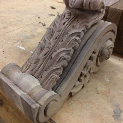 Work in progress: carved corbel on the work bench