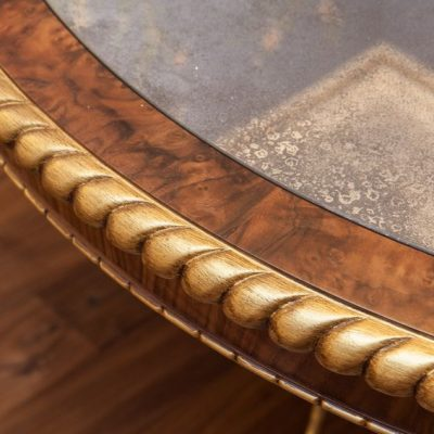 Finished Table top: showing Eglomise mirror, burr walnut border, ebony inlay and gadrooned front edge