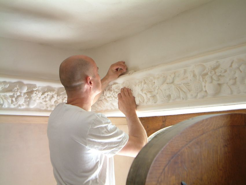 hand cast plaster wall frieze